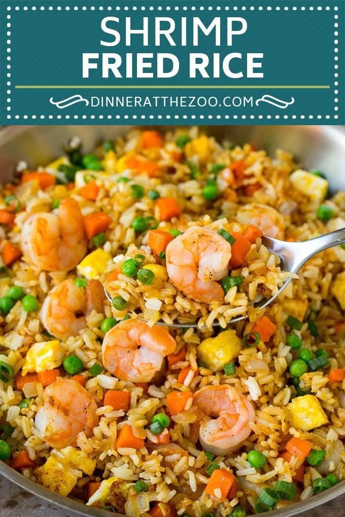 Receta De Arroz Frito Con Camarones |  Arroz frito chino #arroz # camarones # guisantes # zanahorias # guarnición # cena #dinneratthezoo