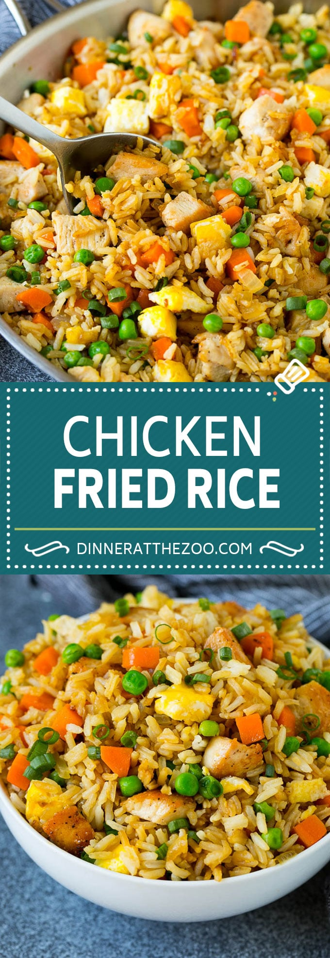 Receta de arroz con pollo frito |  Arroz frito chino # arroz # pollo # guisantes # zanahorias # guarnición # cena #dinneratthezoo