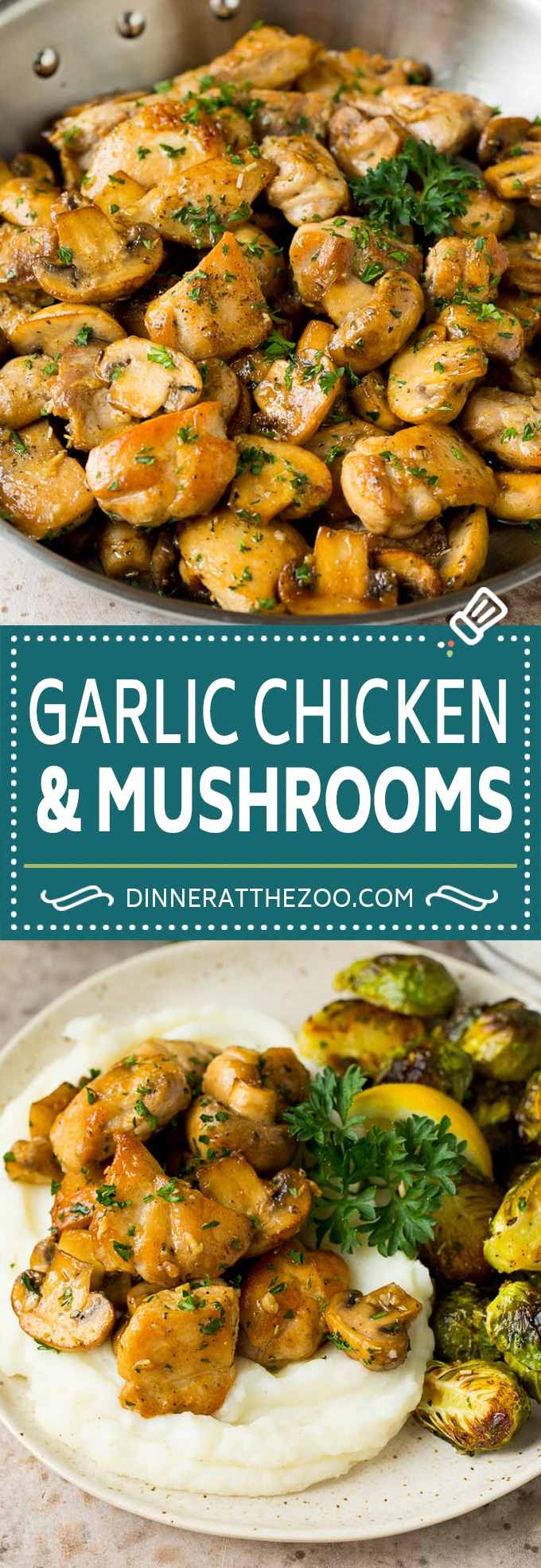 Esta receta de pollo con mantequilla de ajo incluye pollo a la sartén y champiñones salteados, todo en una sabrosa salsa de mantequilla, ajo y hierbas.