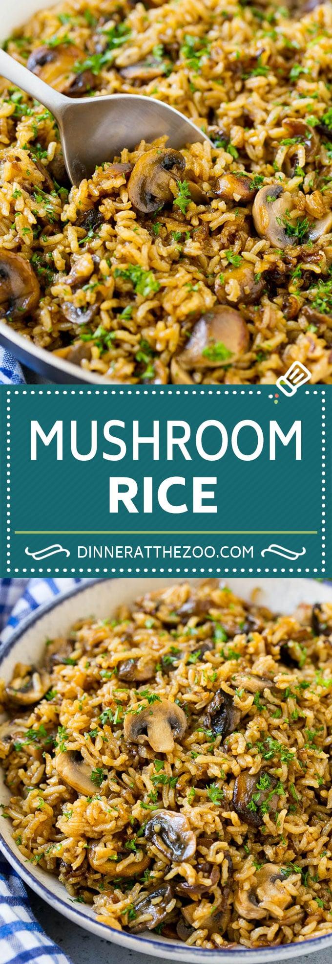 Receta de arroz con champiñones |  Arroz al horno |  Rice Pilaf #rice #mushrooms # sidedish # dinner #dinneratthezoo