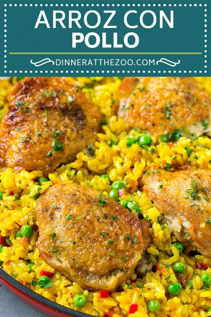 Receta de Arroz con Pollo    Receta de pollo y arroz    Pollo español #pollo #arroz #onepot #dinner #Cazuelas online#glutenfree