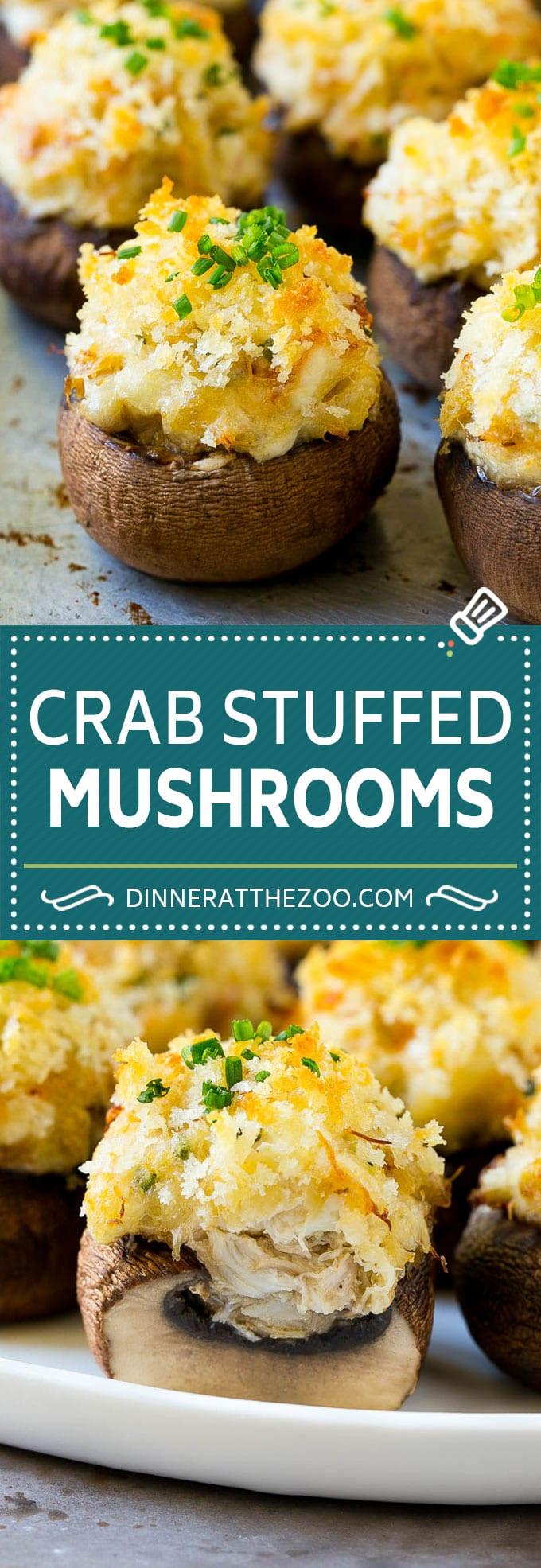 Receta de champiñones rellenos de cangrejo |  Champiñones rellenos |  Aperitivo de hongos # cangrejo #frutas del mar # hongos # carbohidratos bajos #aperitivo #dinneratthezoo