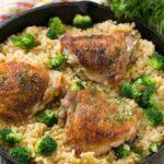 Cazuela de pollo, brócoli y arroz