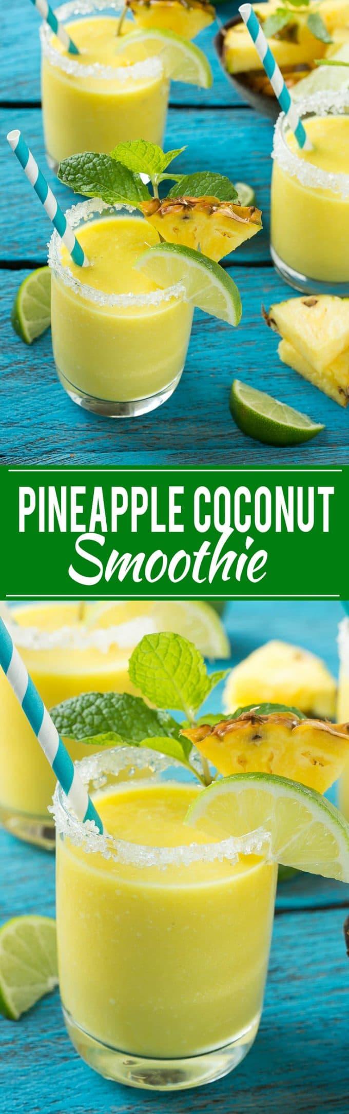 Receta de batido de piña y coco |  Batido tropical |  Batido de piña # batido # piña # coco # saludable # limpieza #dinneratthezoo
