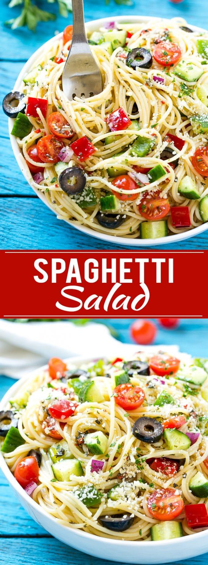 Receta de ensalada de espagueti |  Ensalada de pasta |  Receta Potluck |  Ensalada de pasta fácil # espaguetis #pasta #insalata #dinneratthezoo