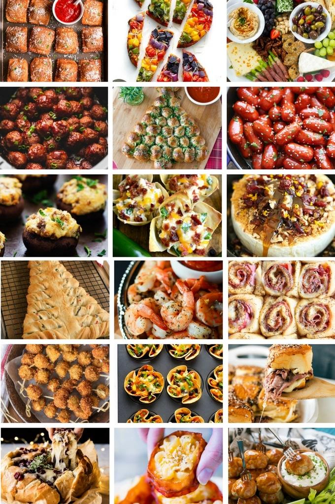 Recetas de aperitivos calientes navideños que incluyen pizza, salchichas y albóndigas.