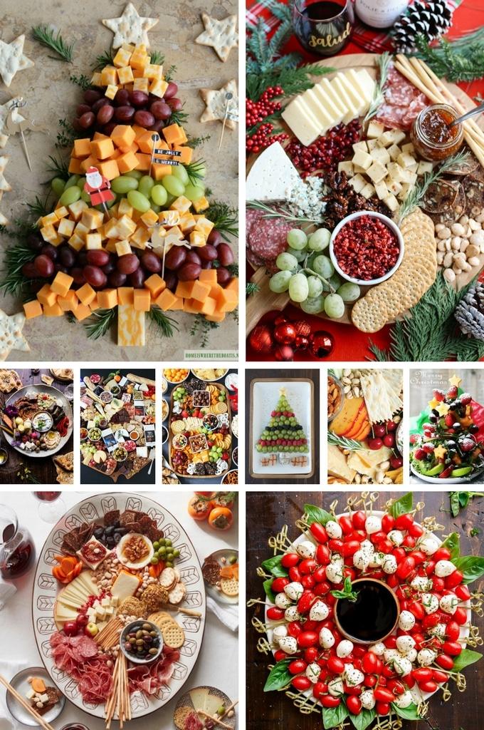 Aperitivos navideños sin cocinar como platos de queso.