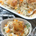 Cazuela de pollo y arroz en una cacerola